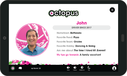 Play Octopus - Rideshare Tablet - Driver Profile
