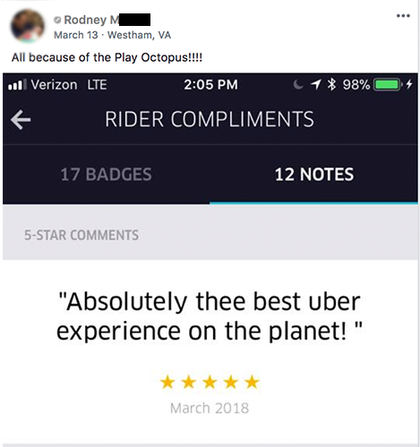 Play Octopus Rideshare Entertainment Review - Rodney