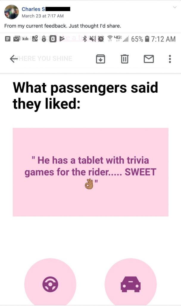 "Charles S shares rider feedback ""He has a tablet with trivia games for the rider. Sweet"""
