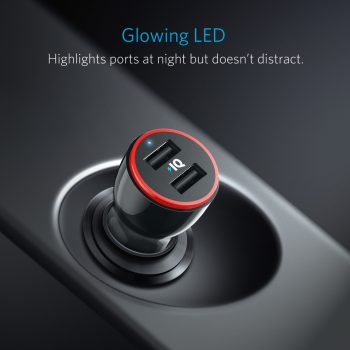 Anker charger with glowing LED light highlights ports