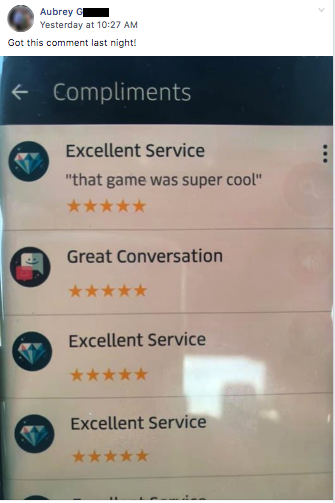 "Uber passenger review, ""that game was super cool"""