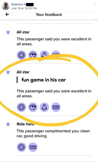 "Rider review, ""fun game in his car"""