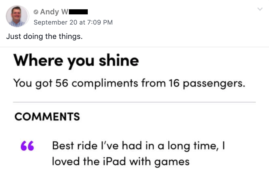 "Lyft passenger of Andy W says, ""Best ride I've had in a long time...loved the games."""
